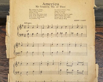 Patriotic Vintage Sheet Music- 1940's- Piano Playing for Pleasure- Americana- Songbook-America My Country/Star Spangled Banner-Samuel Spivak