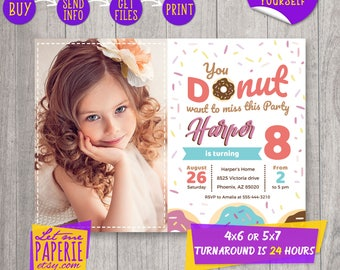 Donut Invitation, Donut Birthday invitation, Donut Invite, Donut party, Donut Birthday Party Invitation printable, Sweet birthday invitation
