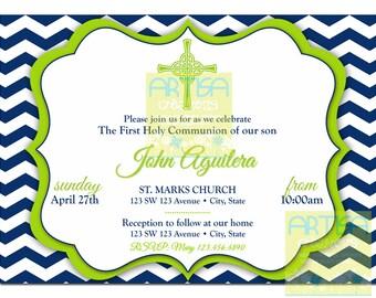 Boy's First Communion Invitations, Chevron Navy  Lime green First Communion - Boy's First Communion Invite - Navy and Lime First Communion