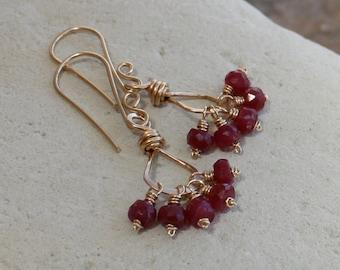 RUBY earrings, July birthstone, July birthday, Ruby Cluster earrings, 14k gold filled