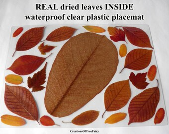 Waterproof placemat Dried leaf Vinyl kitchen table mat New house present Housewarming gift for her table mat Brown yellow red placemat 69