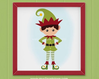 Clipart - Christmas Elf Clipart (Single Clipart Image) - Digital Clip Art (Instant Download)