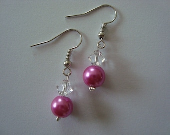 Earrings dangling pink fuschia and crystal clear