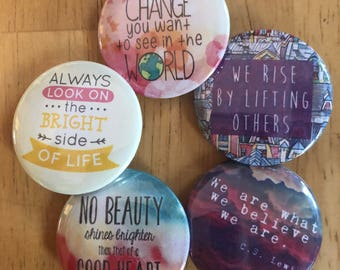 Brightness and Beauty Button Set, Backpack Pin Sale, Discount Bulk Badges Pins Boho Buttons, Compassion, Teach Peace Positive Vibes