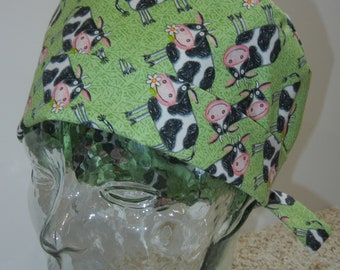 Tie Back Surgical Scrub Hat with Cows on Green