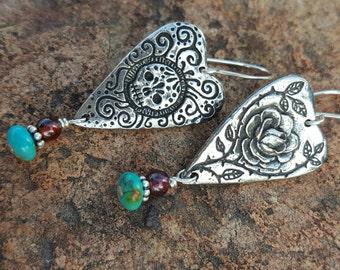 Sugar Skull Earrings - Fine Pewter Earrings - Heart Earrings - Rose and Skull - Day of the Dead - Cowgirl Jewelry - Turquoise - Garnet