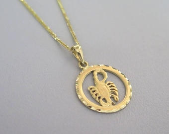 Scorpio Necklace - 14k Scorpio pendant - Gold Scorpio Pendant - Gold Zodiac Necklace - Gold Zodiac Pendant - Zodiac Jewelry - Zodiac Pendant