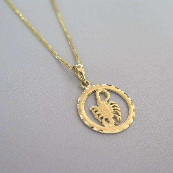 Scorpio necklace 14k scorpio pendant gold scorpio pendant mozeypictures Image collections