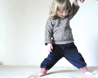 Toddler baggy pants, organic children clothing, blue corduroy trousers, gender neutral toddler clothing