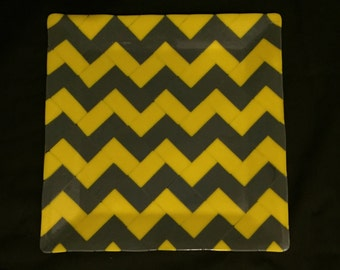 "Festive Chevron Fused Glass Platter - 13"" square"