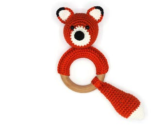 Rattle with crocheted fox