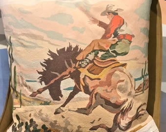 Bucking Bronco paint by number pillow