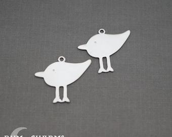 0055 - Pendant Connector, Matte Original Rhodium, Baby Chick Pendant, 2 Pieces