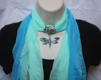 Soft Jeweled Scarf blue and teal with metal dragonfly pendant