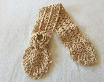 Crochet Neck Warmer Light Brown Color