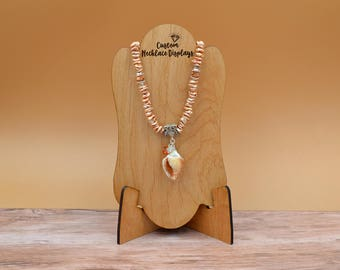 Customized Wood Necklace Display Stand Bust - Add your logo   Personalized Jewelry Display