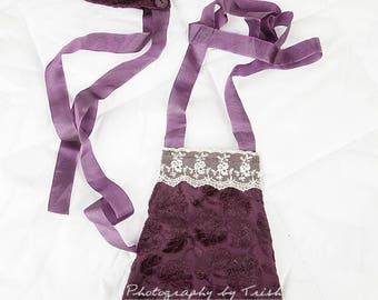 Deep Purple newborn girl romper with bonnet