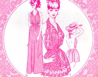 Patterns Pacifica 3017 Misses' Vintage Hawaiian Empire Waist Halter Evening Dress or Beach Dress Sewing Pattern