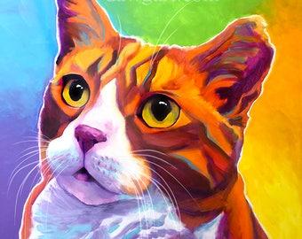 Tabby Cat, Ginger Cat, Pet Portrait, DawgArt, Tipped Ear, Cat Art, Cat, Pet Portrait Artist, Colorful Pet Portrait, Rescue Cat, Art Prints