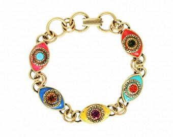 Rainbow Evil Eye Bracelet. Handmade Colorful Lucky Eye Charm Bracelet in 24K Gold by Michal Golan. Bold and Bright Gift Idea