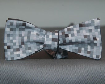 Black and Gray Pixel  Bow Tie