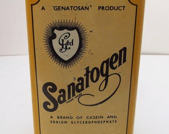 Rare Vintage 'Sanatogen' Large Tin Genatosan Ltd. Chemist Medical Medicine Collectables 1930s