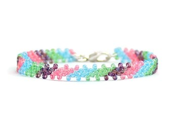 Girls Ankle Bracelet - Child's Friendship Anklet - Children's Jewelry - Seed Bead Anklet - Multi Color Anklet - Kids Beaded Jewelry