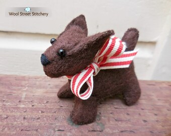 Small stuffed dog, felt puppy dog, hand made brown puppy, felt stuffed animal, felt animal gift