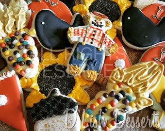 Decorated Thanksgiving Cookie Assortment, Fall, Sugar Cookie, Thanksgiving Cookies, Turkey, Pumpkin, Pumpkin Pie, Corn, Sunflowers, Acorn
