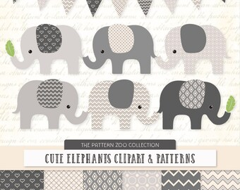 Patterned Grey Elephants Clipart and Digital Papers - grey Elephant Clipart, Elephant Vectors, Baby Elephants, Cute Elephants