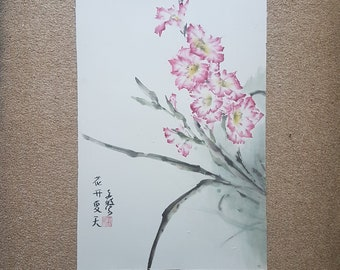 Original Chinese brush painting: Gladiolus in the summer