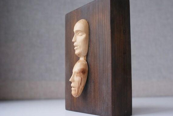 Moderne Holzskulpturen zwei gesichter moderne holz skulptur einzigartige