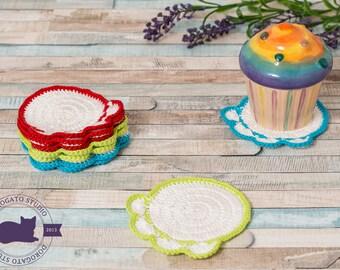 Set of 3 Crochet Paw Coasters, Doily Coasters, Drink Coasters, Handmade Coasters, Cottage Style Decor, Rustic Decor