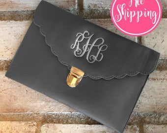 CHARCOAL CLUTCH BAG - Monogram Crossbody - Monogrammed Clutch - Personalized Gift - Gift for Her - Monogram Purse - Monogrammed Purse