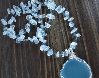Beaded Seaglass Pendant Necklace - Wire Wrapped Sea Glass Pendant Necklace - White Sea Glass Necklace - Blue Multistrand Necklace