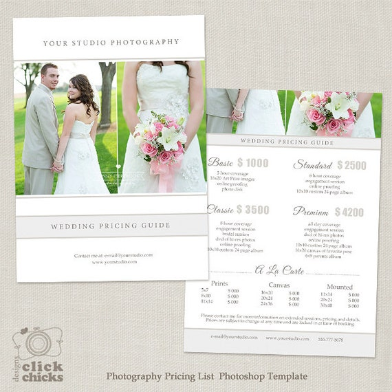 Wedding Photography Package Pricing List Template   Photography Pricing  Guide   Price List   Price Sheet  020   C169, INSTANT DOWNLOAD