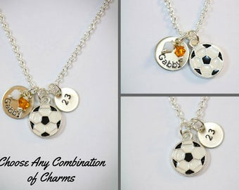 Soccer Necklace • Soccer Team Gift • Soccer Coach Gift • Personalized Soccer Ball • Soccer Charm •School Team • Soccer Player Gift
