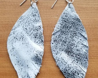 Metallic leather feather earring