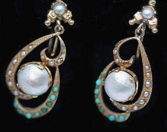 Antique Earrings 14k Gold Turquoise Pearls Art Nouveau Whirls (#6210)