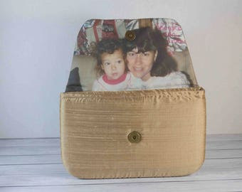 Champagne Wedding Photo Clutch Mother of the Bride Gift for her / Keepsake Wedding Gift Photo Purse for bridesmaid Dupioni Silk