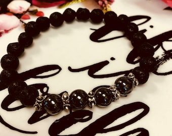 Lava Rock & Hematite aromatherapy healing bracelet