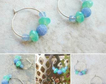 Beaded silver hoop earrings with matte periwinkle blue crab agate and seafoam green Czech glass beads / colorful minimalist hoop earrings