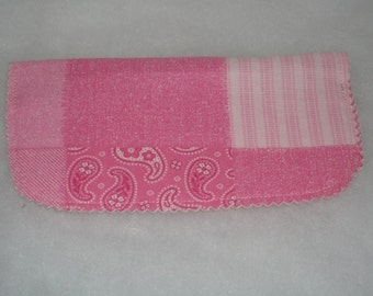 Checkbook Cover Paisleys and Stripes in Pink Great Gift  Free shiipping within US