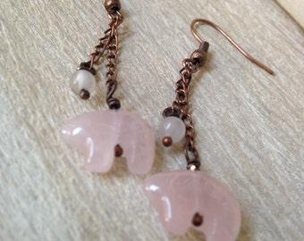 Pink Earrings Quartz Bear Earrings Handmade Jewelry Rustic Bohemian Jewelry San Diego California Copper Jewelry