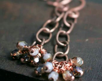 Long Plum White Lilac Amethyst Purple Topaz Earrings with Oval Copper Links and Hand Forged Hammered Copper Earrings Wedding Style for Her
