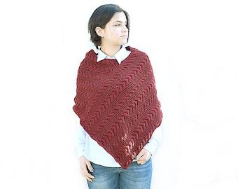 Hand Knit poncho, Knitted poncho, Handmade poncho, Wool knit Burgundy Bordo poncho , Boho, cabled poncho, Chunky knit poncho, gift for her