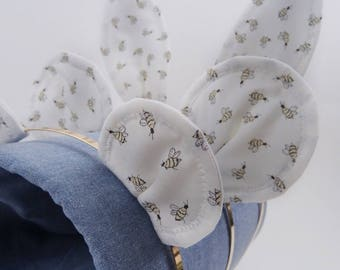 White Bumble Bee Print Bunny, Mouse or Bear Ear Headband. Rabbit. Dress Up. Easter