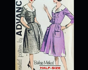 Vintage 50s 60s Portrait Collar Shirtwaist Fit N Flare Day Dress Sewing Pattern 9798 B37