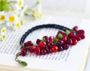 Clay garnet jewelry Bracelet with pomegranate seed glass Jewelry Chain Garnet bracelet wine color Bead Vegan bracelet Resin bracelet