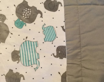 Teal and gray elephant blanket